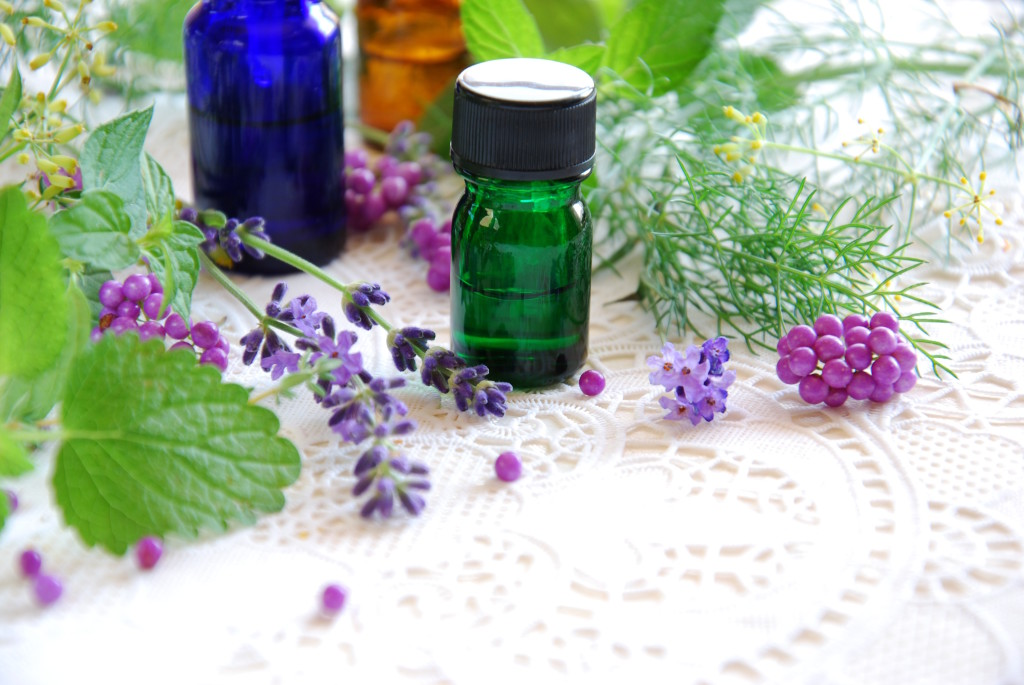 Herbs and Essential Oil Bottles