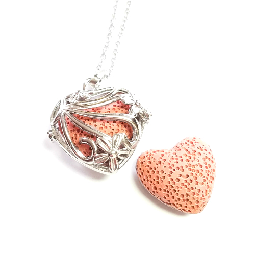 Floral Heart Diffuser Necklace